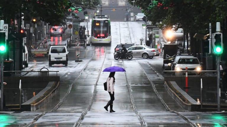 A summer umbrella out on Bourke Street.