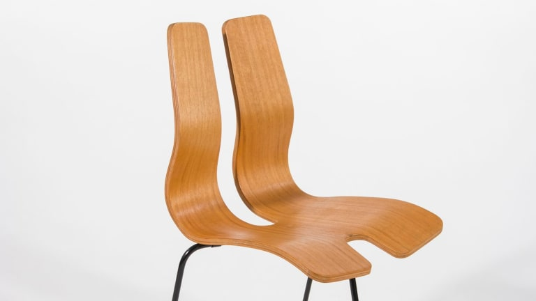 The three-legged plywood chair, 1955, plays on tension and suspense.