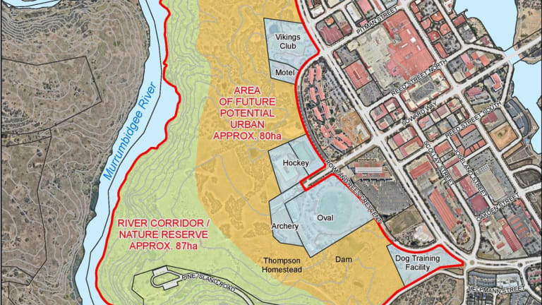 Land west of the Tuggeranong town centre the ACT government plans to develop into a new suburb.