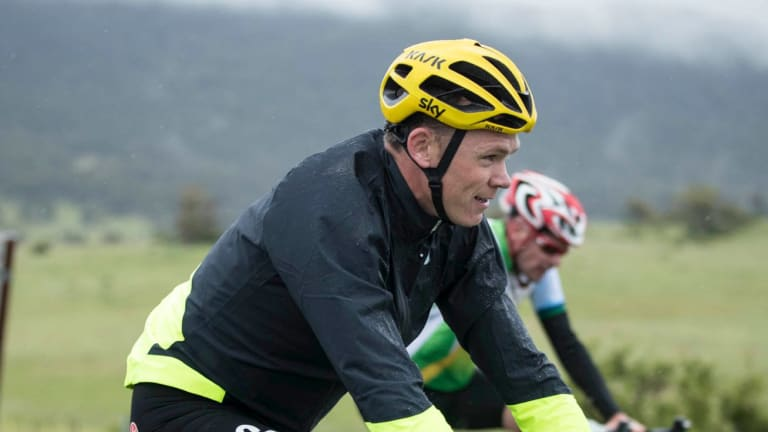 Chris Froome on the road in the Snowy Mountains.
