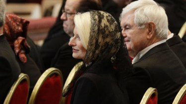Callista Gingrich, the US ambassador designate to the Holy See, attends the funeral service for late Cardinal Bernard Law.