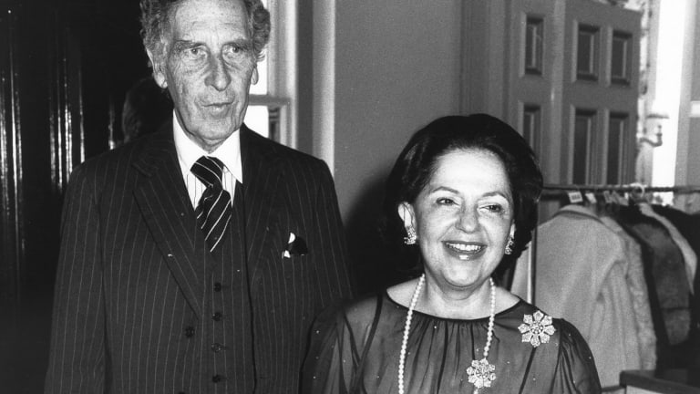 Sir Warwick and Lady Mary Fairfax at Government House in 1980.