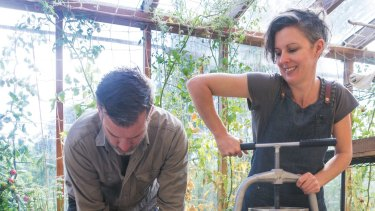 Nick Ritar and Kirsten Bradley at their property Melliodora, where they practice 'natural beekeeping'.