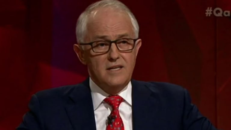 Prime Minister Malcolm Turnbull on the ABC's Q&A program in December.