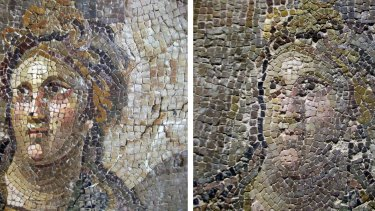 Botched: A mosaic before restoration (left) and after restoration.