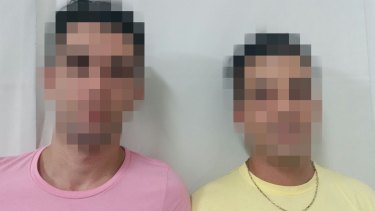 A digitally altered photo of two gay Iranian refugees, Nima and Ashkan, who say they are being persecuted at Nauru, where homosexuality is illegal.