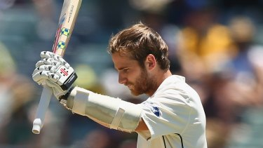 PERTH, AUSTRALIA - NOVEMBER 15: Kane Williamson of New Zealand celebrates after reaching his century during day three of the second Test match between Australia and New Zealand at the WACA on November 15, 2015 in Perth, Australia.  (Photo by Robert Cianflone/Getty Images)
