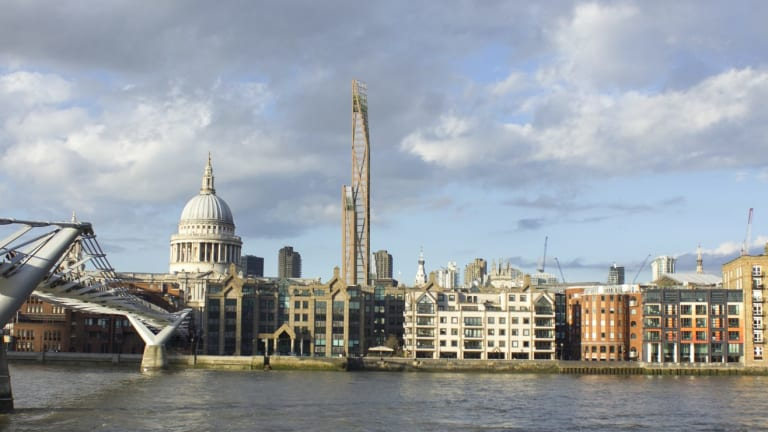 "Artist's impression of London's skyline with the proposed ""Toothpick""."