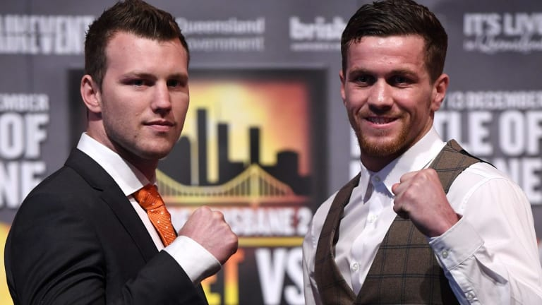 WBO welterweight champion Jeff Horn (left) and English challenger Gary Corcoran face-off in Brisbane.