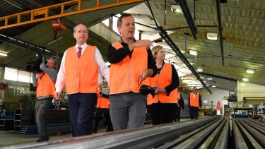 Opposition Leader Bill Shorten: getting out of town and into factories.