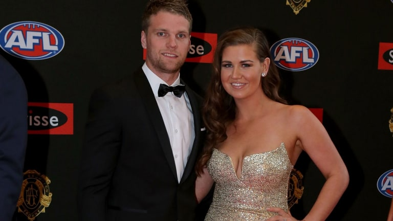 Western Bulldogs footballer Jake Stringer with then-partner Abby Gilmore. Her message of empowerment employs tools of misogyny.