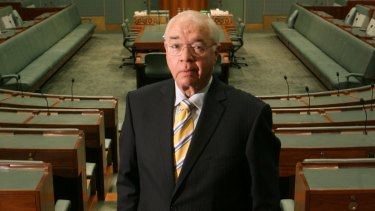 Political television journalist, Laurie Oakes in Parliament House in 2007.