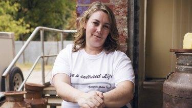 Butter maker Naomi Ingleton at her factory.