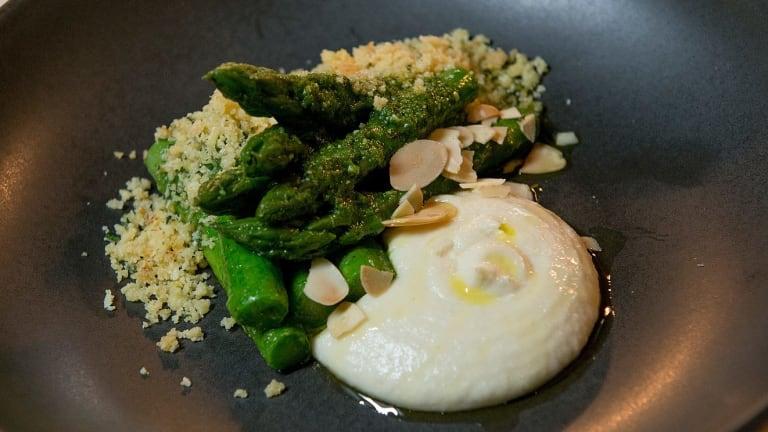 The asparagus, almond & sorrel dish.