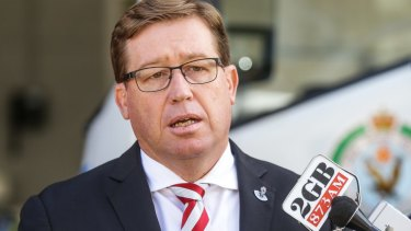 """""""We're putting victims first"""": Police and Justice Minister Troy Grant."""