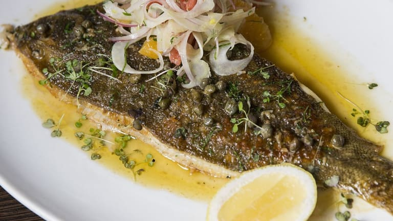 Whole flounder with fennel and citrus salad, caper lemon buerre noisette at Wayside Inn.