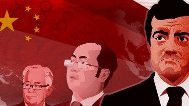 Andrew Robb, Huang Xiangmo and Sam Dastyari. Illustration: Fairfax