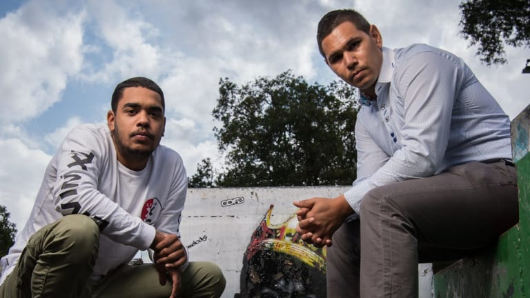 Youth leaders: Just Reinvest ambassador Beau Foster (left) with Kool Kids Club worker Keenan Mundine.