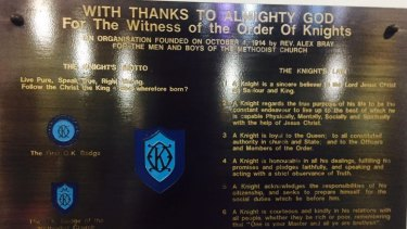 Rare Order of Knights plaque in the Albert Street Uniting Church, Brisbane, showing the order lasted from 1914 until 1987.