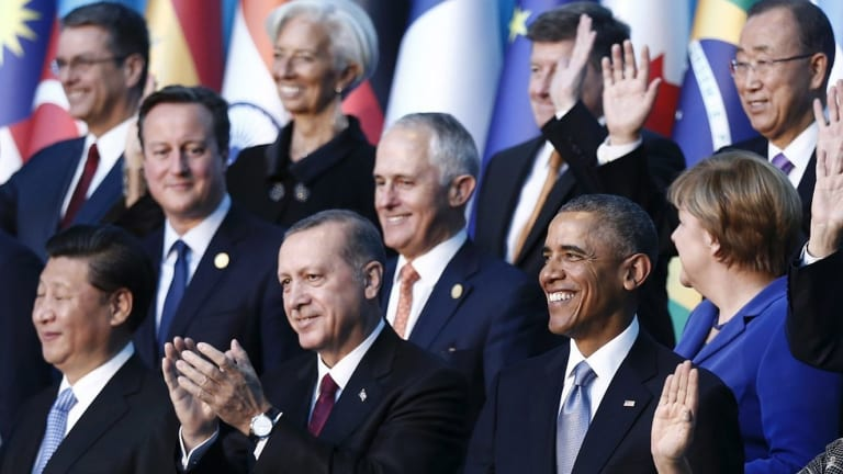 David Cameron and Malcolm Turnbull with other world leaders during the G-20 summit in Turkey last November.