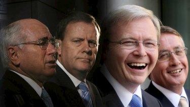 Former Australian prime ministers and treasurers: John Howard & Peter Costello, Kevin Rudd & Wayne Swan.