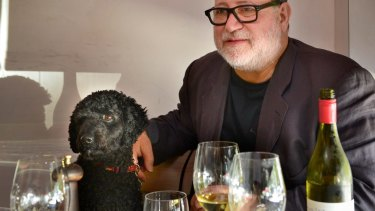 Ronnie DiStasio and dog Roscoe at Bar Di Stasio in St.Kilda.f SPECTRUM 20TH MARCH 2014 PHOTO: PENNY STEPHENS THE AGE