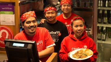 Staff at Wok On Inn, which voluntarily displays its hygiene and food safety rating.