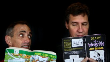 Andy Griffiths (left) and Jeff Kinney, of <i>Treehouse</i> and <i>Wimpy Kid</i> fame respectively.