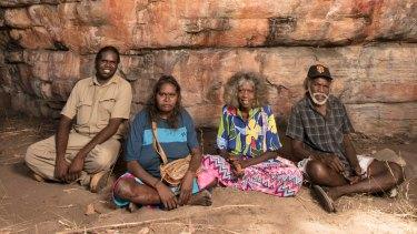 Traditional owners Simon Mudjandi, Rosie Mudjandi, May Nango and Mark Djanjomerr at the Kakadu rock shelter where Australian history has been re-written.