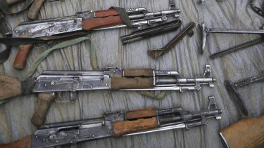 Weapons captured from Boko Haram by Chadian and Nigerien soldiers are seen in the recently retaken town of Damasak.