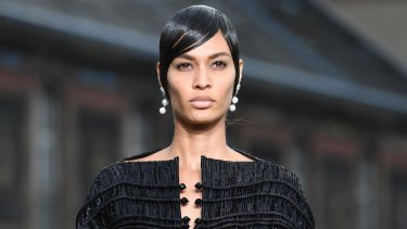 27fe3ae56d Joan Smalls walks the runway during the Givenchy Menswear Spring Summer  2017 show as part