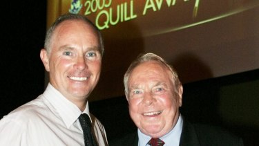 Michael Gordon with his father Harry at the 2005 Quill Awards, where he won the Graham Perkin Award for Australian Journalist of the Year.