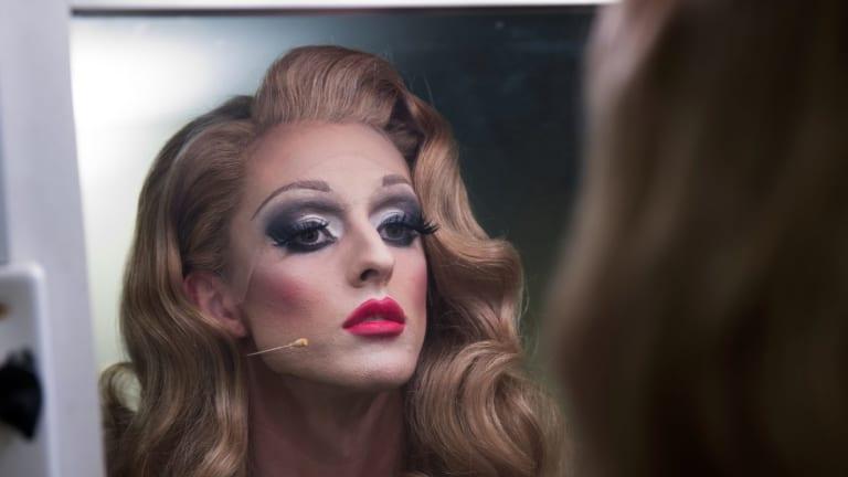 Adam Noviello checks his make-up backstage for Priscilla.