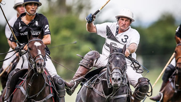 Former Australia polo captain Andrew Williams (in white).