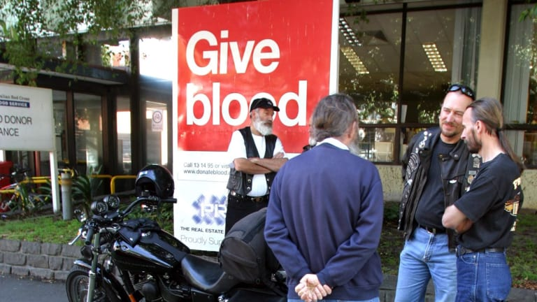 Members of the Melbourne Harley Owners Group at the Red Cross Donor Centre at the corner of Kavanagh and Balston streets, Southbank,for the annual summer blood donor challenge.