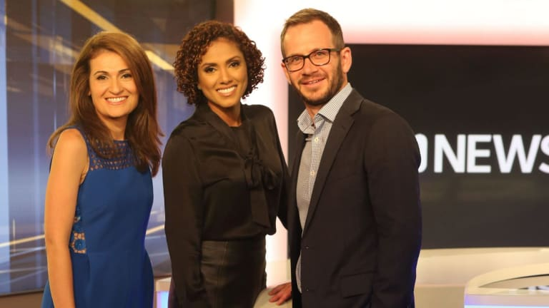 ABC News managing editor Tim Ayliffe with Patricia Karvelas and Karina Carvalho.