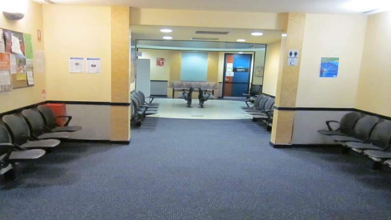 Media are not permitted to take photos inside court buildings. This is a supplied photo of the empty foyer outside Court Seven, where family violence intervention order matters are heard, at Dandenong Magistrates' Court.