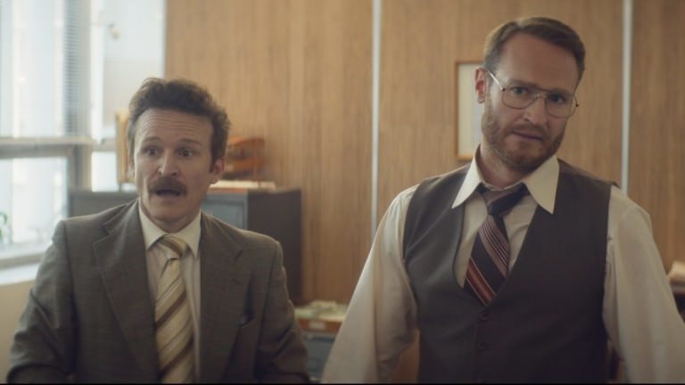 """Damon Herriman (left) and Josh Lawson (right) in """"The Eleven O'Clock"""" which earned a nomination for its Australian filmmakers."""