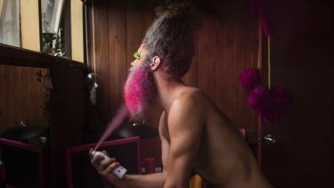 Daniel Newell transforming into Dandrogyny in his North Fitzroy home.