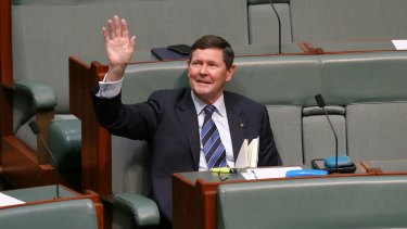 Former Defence Minister Kevin Andrews waves to his adoring public.