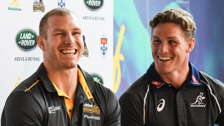 Old firm: Star Wallabies back-rowers David Pocock and Michael Hooper speak to the media at the launch of a new Wallabies sponsorship deal.