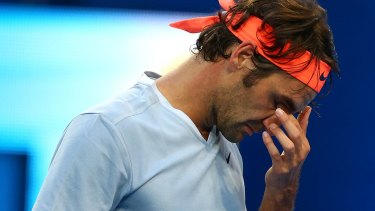 Roger Federer reacts after missing a shot against Alexander Zverev on Wednesday night.