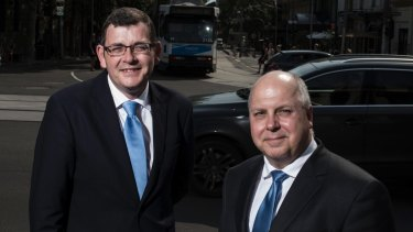 Premier Daniel Andrews, with Treasurer Tim Pallas who is planning sell off more public assets to ease budget pressure.