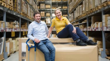 IKEA's Michael Donath and Charmaine Hick in the Canberra store, which is the first in the country to launch online shopping and home delivery.