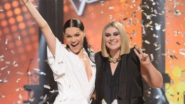 <i>The Voice</i> Australia 2015 winner Ellie Drennan (right) with coach Jessie J.