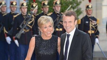 Emmanuel Macron and wife Brigitte Trogneux.
