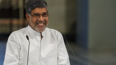 Kailash Satyarthi delivers his acceptance speech during the ceremony.