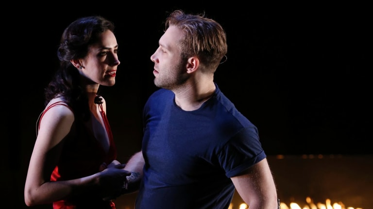 Geraldine Hakewill as Lady Macbeth and Jai Courtney as Macbeth for the Melbourne Theatre Company.