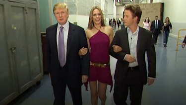 Donald Trump, actress Arianne Zucker, and host Billy Bush in the 2005 tape.