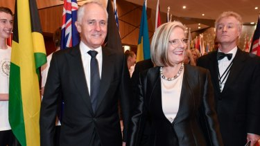 Ready for the mosh pit: PM Malcolm Turnbull arrives with wife Lucy at the Prime Minister's Olympic Dinner.